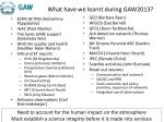 what have we learnt during gaw2013