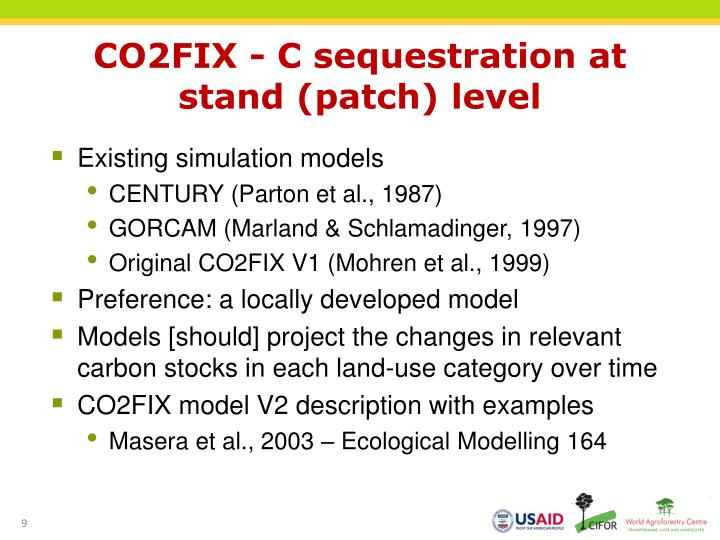 CO2FIX - C sequestration at
