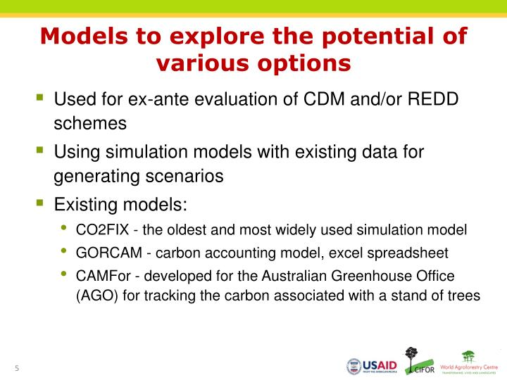 Models to explore the potential of various options