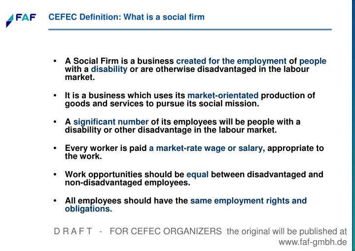 CEFEC Definition: What is a social firm