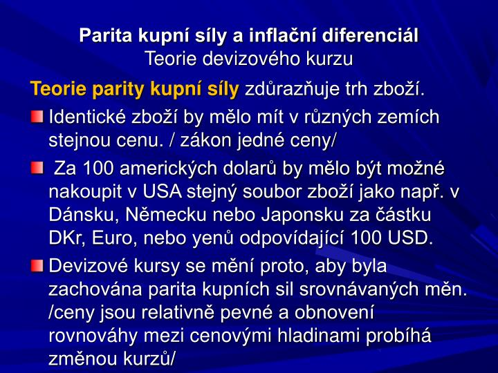 Parita kupní síly a inflační diferenciál