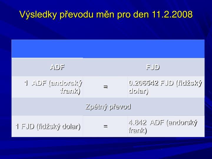Výsledky převodu měn pro den11.2.2008