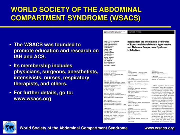 WORLD SOCIETY OF THE ABDOMINAL COMPARTMENT SYNDROME (WSACS)