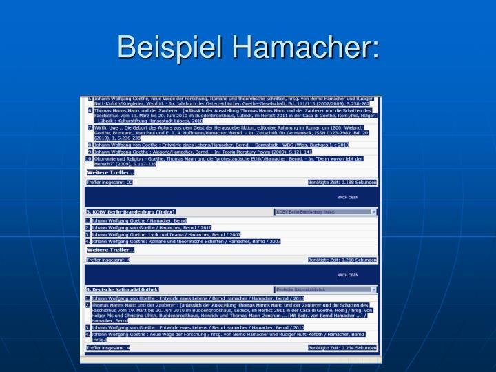 Beispiel Hamacher: