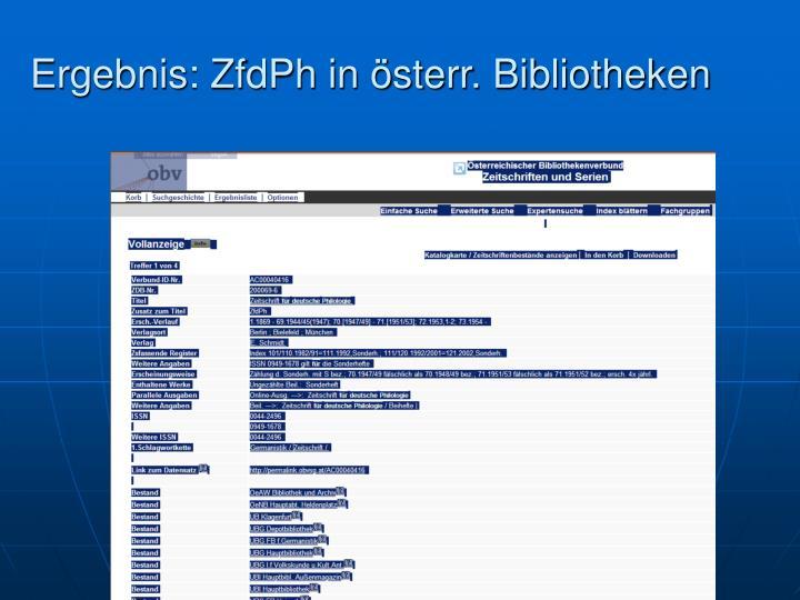Ergebnis: ZfdPh in österr. Bibliotheken