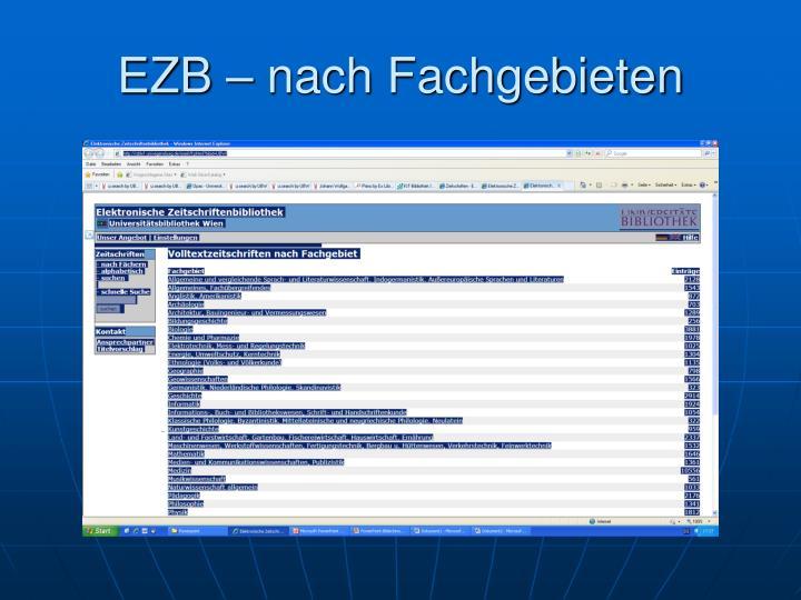 EZB – nach Fachgebieten