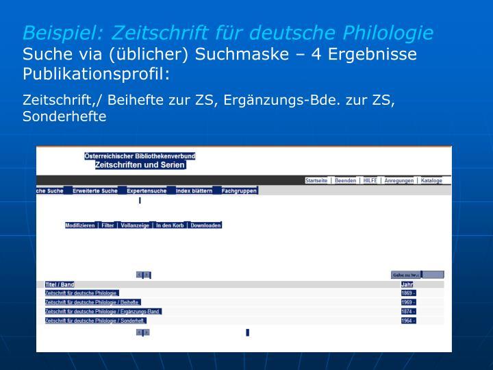 Beispiel: Zeitschrift für deutsche Philologie