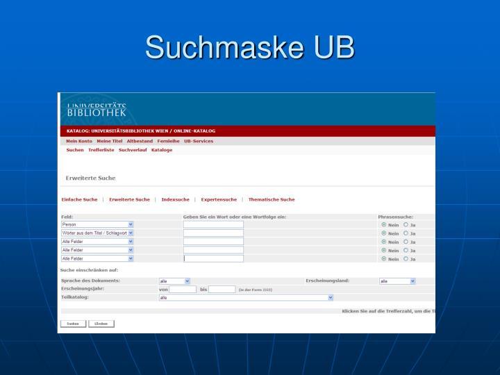Suchmaske UB