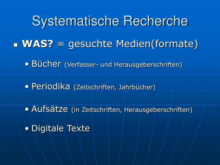 Systematische Recherche