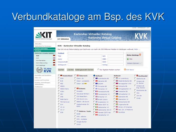 Verbundkataloge am Bsp. des KVK