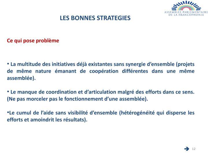 LES BONNES STRATEGIES