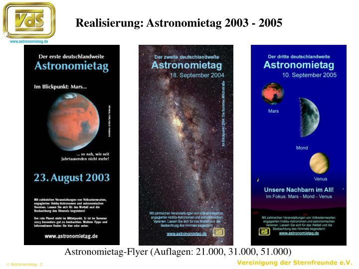 Realisierung: Astronomietag 2003 - 2005