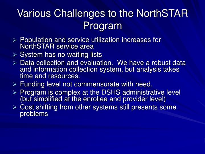 Various Challenges to the NorthSTAR Program