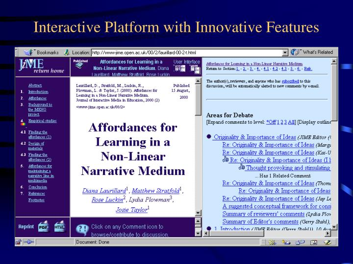 Interactive Platform with Innovative Features