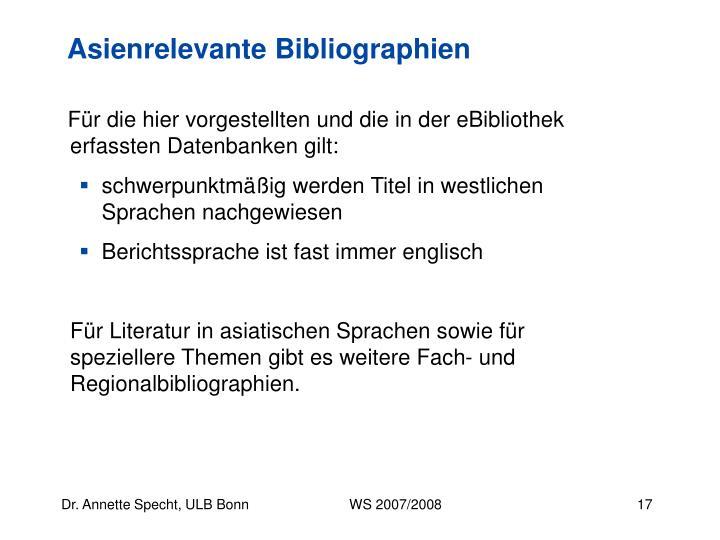 Asienrelevante Bibliographien
