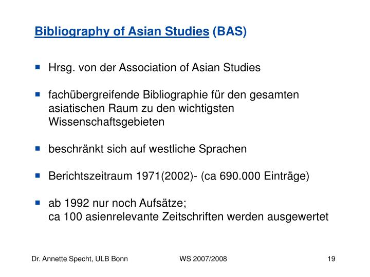 Bibliography of Asian Studies