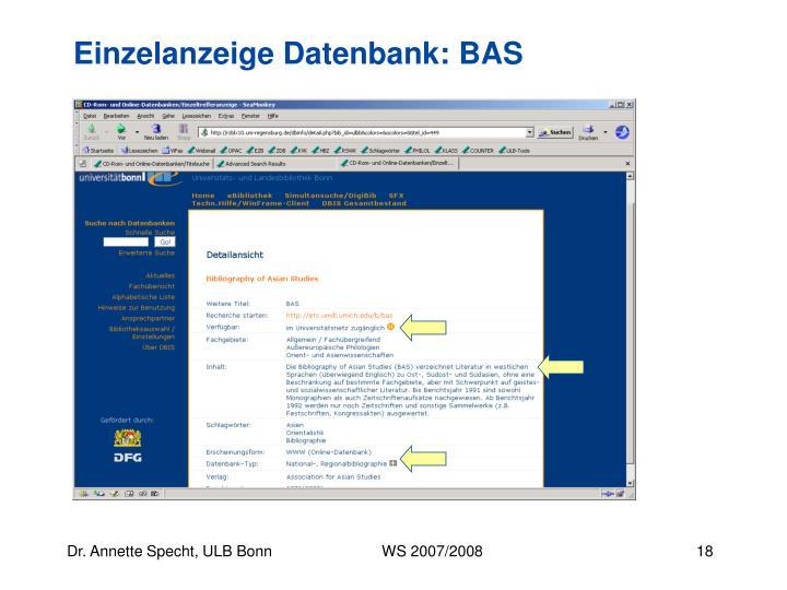 Einzelanzeige Datenbank: BAS