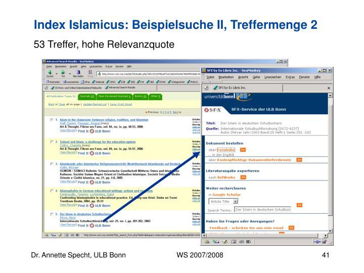 Index Islamicus: Beispielsuche II, Treffermenge 2