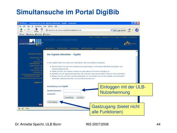 Einloggen mit der ULB-Nutzerkennung