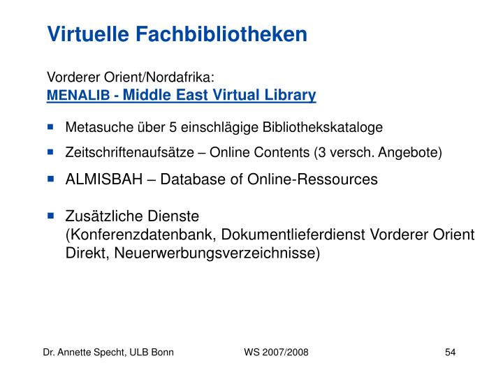 Virtuelle Fachbibliotheken