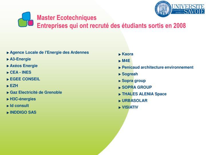 Master Ecotechniques