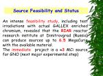 source feasibility and status