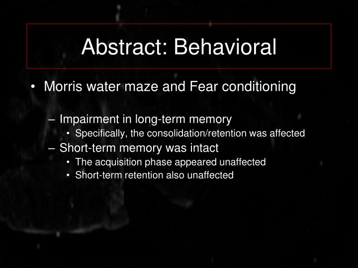Abstract: Behavioral