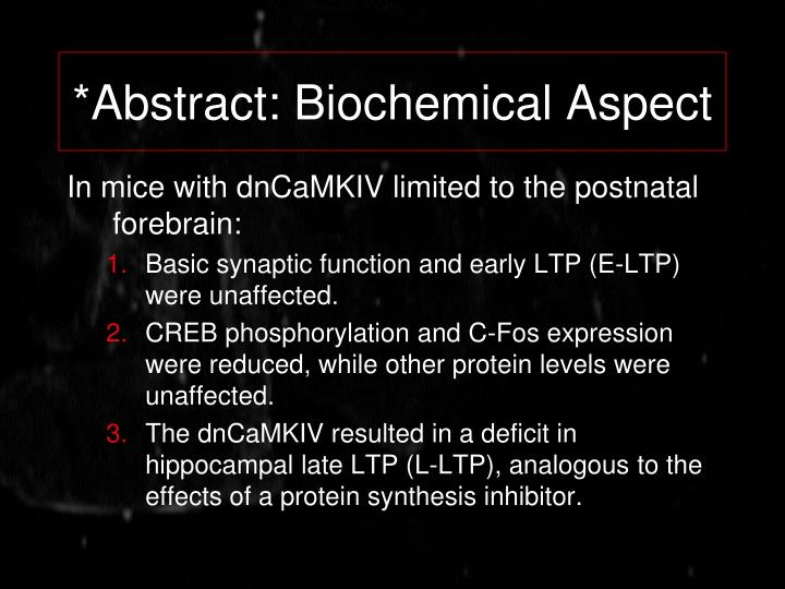 *Abstract: Biochemical Aspect