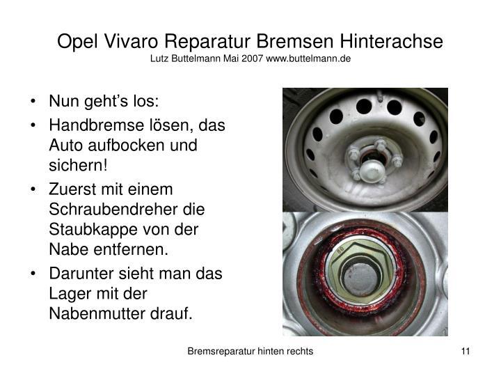Opel Vivaro Reparatur Bremsen Hinterachse