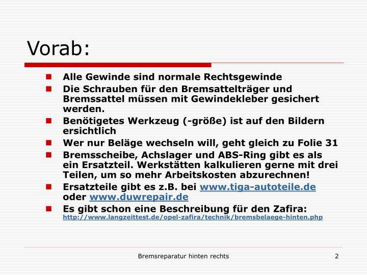 Vorab: