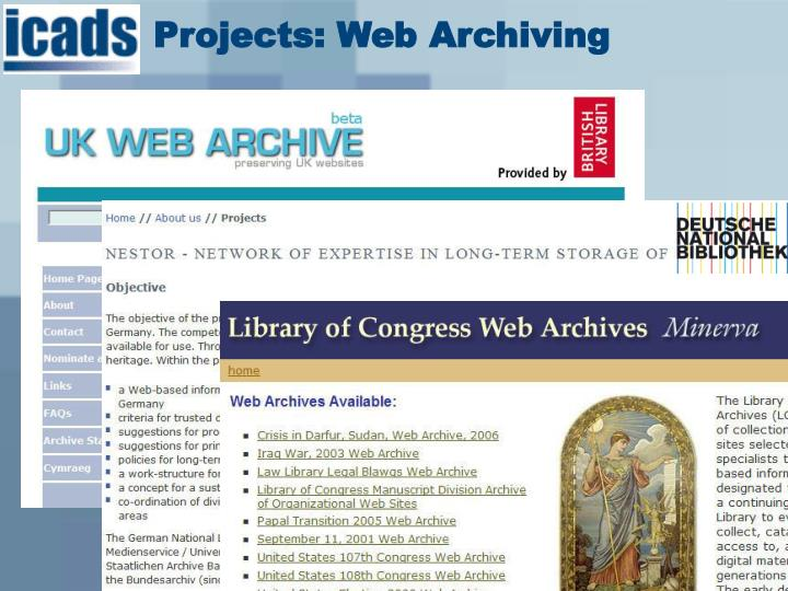 Projects: Web Archiving