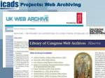 projects web archiving