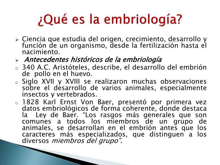 ¿Qué es la embriología?