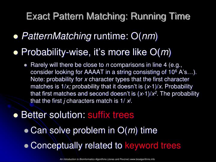 Exact Pattern Matching: Running Time