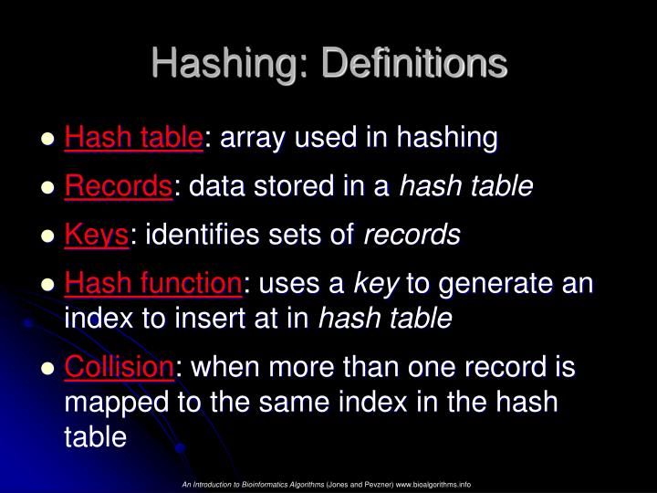 Hashing: Definitions