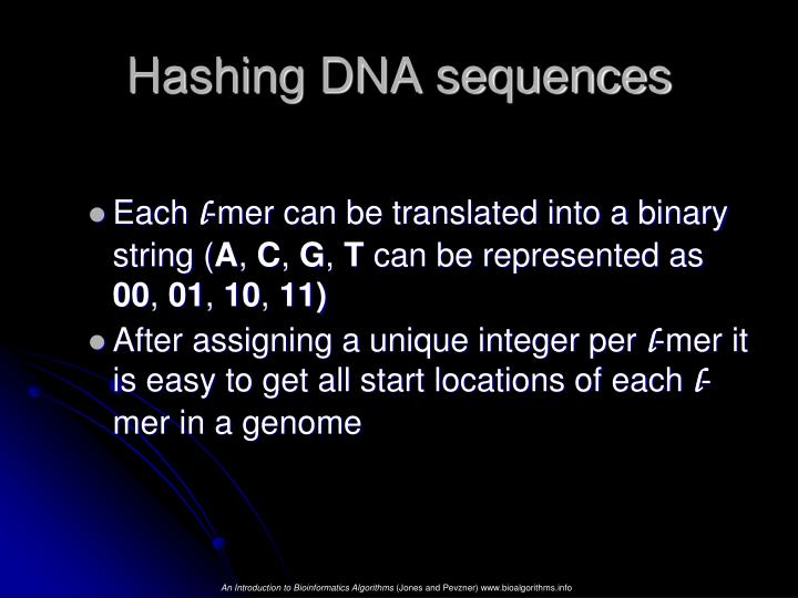 Hashing DNA sequences