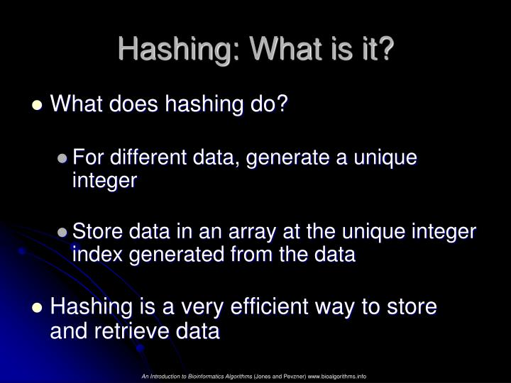 Hashing: What is it?