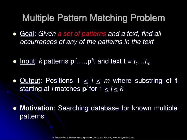 Multiple Pattern Matching Problem