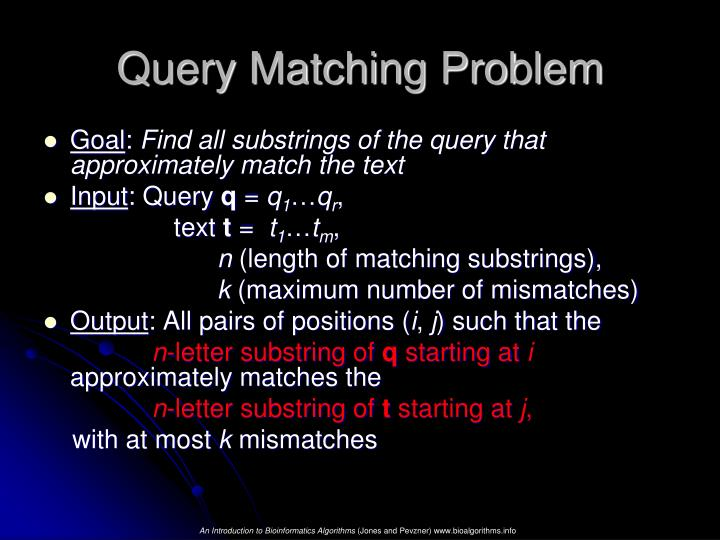 Query Matching Problem