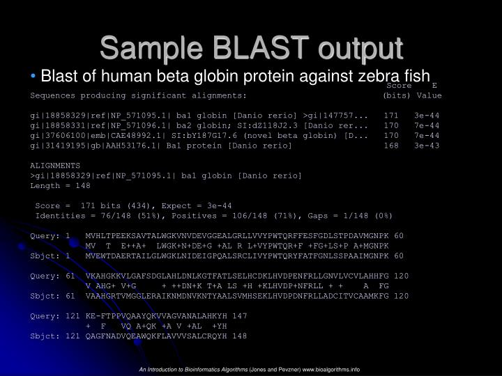 Sample BLAST output