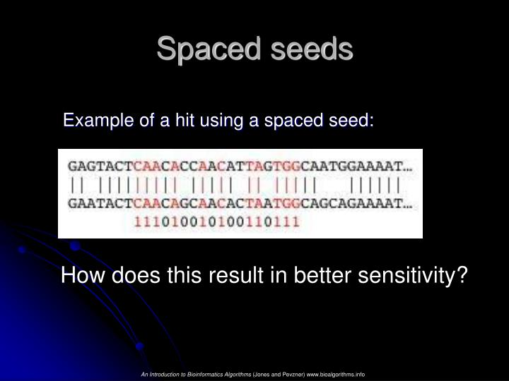 Example of a hit using a spaced seed: