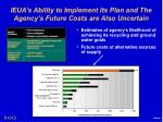 ieua s ability to implement its plan and the agency s future costs are also uncertain