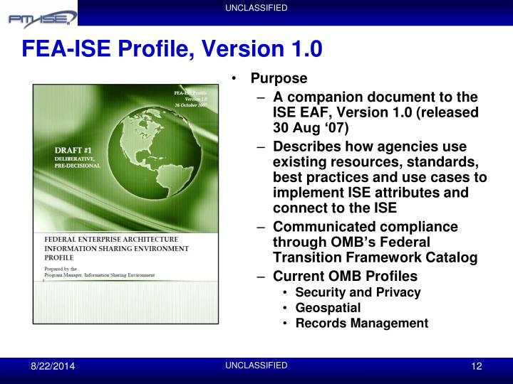 FEA-ISE Profile, Version 1.0