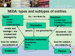 neda types and subtypes of entities