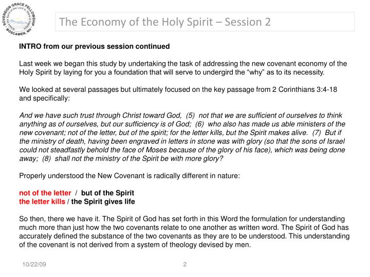The Economy of the Holy Spirit – Session 2