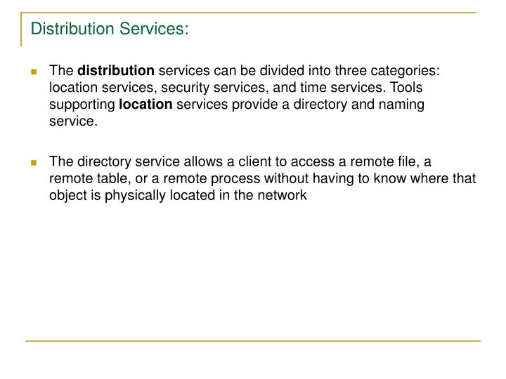 Distribution Services: