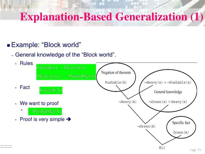 Explanation-Based Generalization (1)