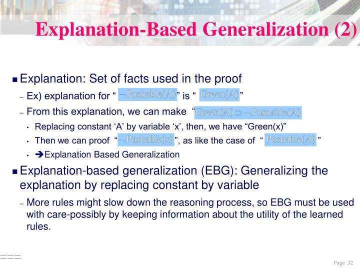 Explanation-Based Generalization (2)