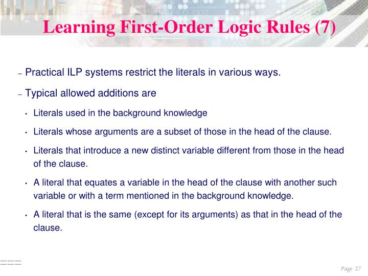 Learning First-Order Logic Rules (7)