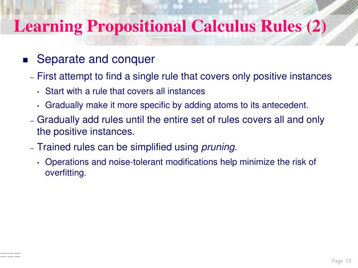Learning Propositional Calculus Rules (2)
